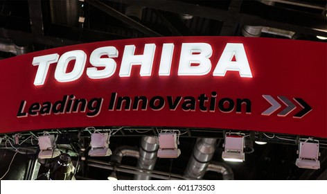 BEIJING, CHINA - MARCH 26, 2016: Toshiba sign; Toshiba is a Japanese multinational conglomerate corporation, founded in 1938, that serves worldwide.