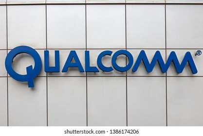 BEIJING, CHINA- MARCH 28, 2019: Qualcomm sign; Qualcomm is an American company founded in 1985. It takes part in the industry of the telecommunications and semiconductors, and serves worldwide.