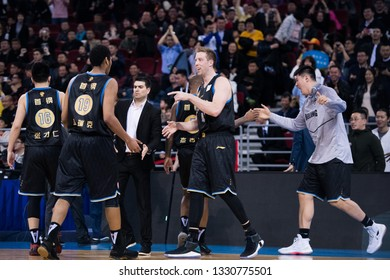 Beijing, China - March 5, 2019:  Justin Hamilton celebrates during a CBA game between Beijing Ducks and Fujian SBS on March 5, 2019, in Beijing, China.