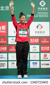 Beijing, China - MARCH 8, 2019: Bronze medallists Jennifer Abel of Canada on medals podium of Women's 3m Springboard Final during day two of the FINA/CNSG Diving World Series 2019 Beijing Station at t