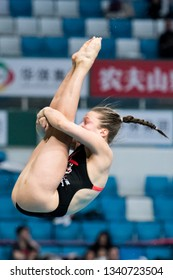 Beijing, China - MARCH 8, 2019: Tina Punzel of Germany compete in the Women's 3m Springboard Final during day two of the FINA/CNSG Diving World Series 2019 Beijing Station at the National aquatics cen