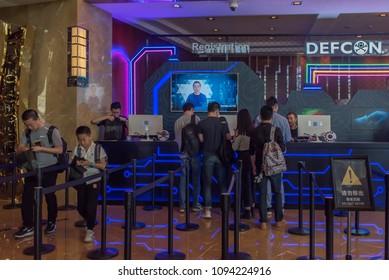 BEIJING, CHINA - May 10-13, 2018: First ever American DEFCON hacker conference held in Beijing.  Registration area in Kuntai Hotel of Beijing.