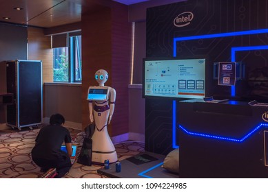 BEIJING, CHINA - May 10-13, 2018: First ever American DEFCON hacker conference held in Beijing.  Vendor demo of AI in security application.