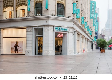 Beijing, China - May 12, 2016: HM fashion store.  HM Hennes & Mauritz AB (H&M) is a Swedish multinational retail-clothing company.