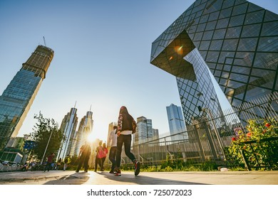 BEIJING, CHINA - MAY 12, 2016: China Central Television (CCTV) headquarters during sunset time. It's a 234 m skyscraper. CCTV is the National TV station of China.