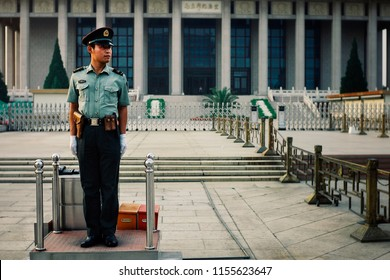 Beijing / China - MAY 15 2010: chinese police officer at his guard post in front of the Mao mausoleum