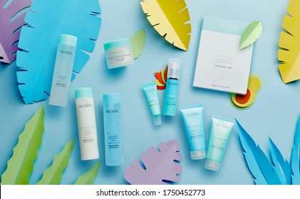 beijing, china- May 27, 2020: Nu skin Nutricentials products on blue table