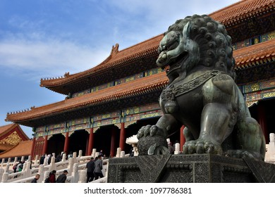Beijing, China - November 1, 2016 : A majestic lion in the Forbidden City