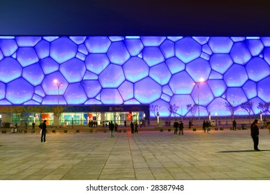 BEIJING, CHINA, November 14: Detail of the Water Cube Stadium built with new material ETFE, symbol of modern China design, on the evening of November 14, 2008.