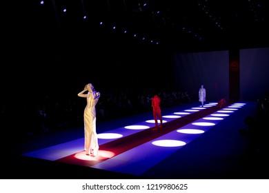 Beijing, China - November 2, 2018: A model walks on runway during the Sheguang Hu Show on China Fashion Week S/S Collection 2019, in Beijing, China, on  November 2, 2018.