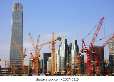 BEIJING, CHINA - NOVEMBER, 2014: Office buildings in the Capital Business District on 16 November, 2014. This is the primary area of finance, media, commerce and business services in Beijing, China.
