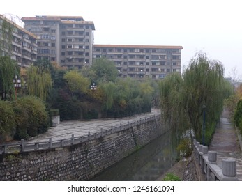 Beijing, China / China - November 2017: Moat in Beijing