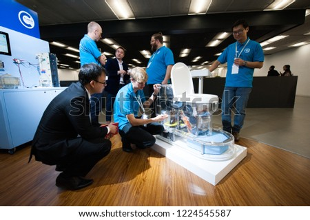Beijing, China - November 8, 2018: Environment-friendly toilets shown on Reinvented Toilet Expo by Bill & Melinda Gates Foundation, in Beijing, China, on November 8, 2018.