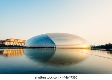Beijing, China - Oct 19, 2015: National Centre for the Performing and colloquially described as The Giant Egg, is an arts centre containing an opera house in Beijing, People's Republic of China.