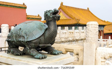 Beijing, China - Oct 30, 2016: Copper tortoise, one of a pair, at the Hall of Supreme Harmony (Taihedian). Forbidden City (Gu Gong, Palace Museum).