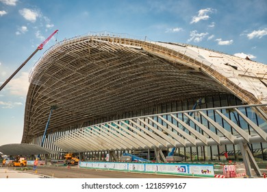 Beijing / China - October 10th 2018: Construction of Beijing Daxing International Airport, to be open on 30 September 2019. It is expected to be the world's largest airport upon completion.