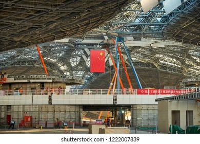 Beijing / China - October 10th 2018: Construction site of Beijing Daxing International Airport, to be open on 30 September 2019. It is expected to be the world's largest airport upon completion.