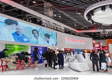 BEIJING, CHINA, OCTOBER 12, 2017: Thermo Fisher Scientific booth during the Beijing Conference and Exhibition on Instrumental Analysis (BCEIA) 2017
