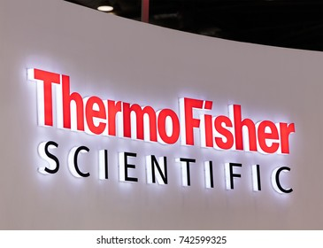 BEIJING, CHINA, OCTOBER 12, 2017: Thermo Fisher Scientific sign; Thermo Fisher Scientific is a company founded in 2006, approximately 65,000 employees and is in the industry of laboratory equipment