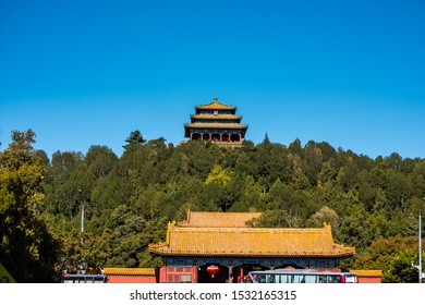 Beijing, China, October 17, 2018, A traditional China royal pavilion in the Jingshan Park, outdise of the Forbidden City, the main buildings of the former royal palace of Ming dynasty and Qing dynasty