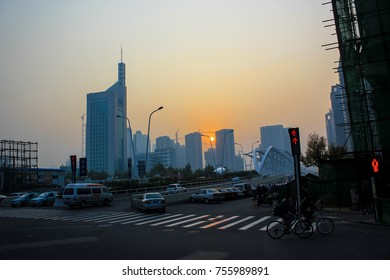 Beijing, China, October 19th, 2012, Sunset of Beijing City View. Busy Beijing city life with a lot of vehicle and people preparing to go home.