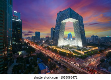 Beijing ,China - October 22 ,2017 : China's Beijing City, a famous landmark building, China CCTV (CCTV) 234 meters tall skyscrapers is very spectacular.