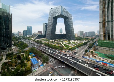 Beijing ,China - October 22 ,2017 : China Beijing City. China Central Television (CCTV) building is very spectacular in Beijing, China.