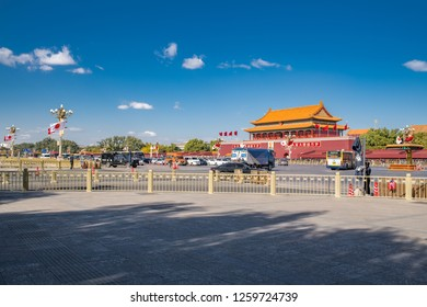 Beijing, China:  October 23, 2018:   Tiananmen (Tian'anmen), also known as the Gate of Heavenly Peace, is in the center of Beijing and landmark of China.  Tiananmen is a popular tourist destination.