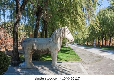Beijing, China, October 24, 2011: Standing horse statue on the ancient Ming Dynesty Tomb Alley (established in 14th century) in Beijing