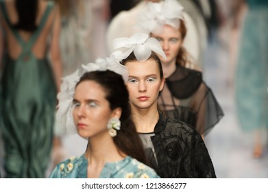 Beijing, China - October 25, 2018: Models walk on runway during Louis Yao (BAIYULU) Show on China Fashion Week S/S Collection 2019, in Beijing, China, on October 25, 2018.