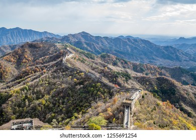 Beijing, China: October 25, 2018: Tourists at the Mutianyu side of the Great Wall of China. The Mutianyu Great Wall is about 43 miles north of Beijing, China.