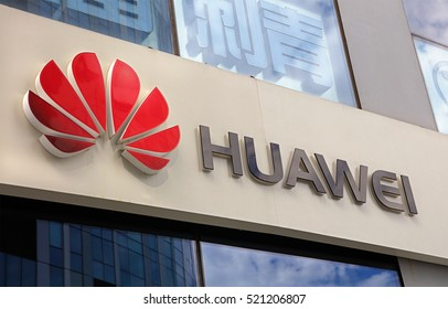 BEIJING, CHINA SEPTEMBER 10, 2016: Huawei sign; Huawei, a Chinese multinational company, is the largest telecommunications equipment maker in the world.
