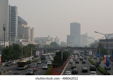 BEIJING, CHINA - SEPTEMBER 24, 2016: Zhongguancun street in beijing during air pollution. Pollution is a serious problem in Beijing. Cities in China face serious air pollution and poor air quality.