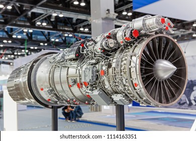 BEIJING, CHINA - SEPTEMBER 25, 2013:  An aircraft Engine is on display during 15th Aviation Expo/China at China National Convention Center
