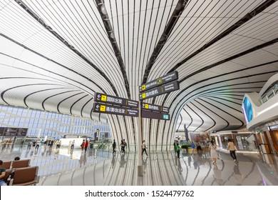 Beijing, China – September 30, 2019: Beijing Daxing New International Airport Terminal (PKX) in China.