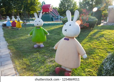 BEIJING, CHINA, SEPTEMBER 8, 2018: Miffy rabbit statue at Beijing World Park