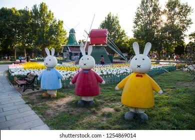 BEIJING, CHINA, SEPTEMBER 8, 2018: Miffy rabbit statue at Beijing World Park