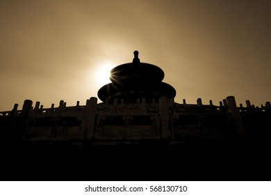 Beijing, China-19 Jan, 2017: Silhouette of The Temple of Heaven in the southeastern part of Central Beijing. Inscribed as UNESCO World Heritage Site in 1998.