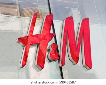 BEIJING, CHINA-DECEMBER 4, 2016:  H & M sign; H & M Hennes & Mauritz AB (H&M), a Swedish multinational retail-clothing company, exists in 62 countries and as of 2015 employed around 132,000 people.