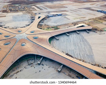 Beijing, China-January 2019: the terminal of Beijing Daxing International Airport is under construction.