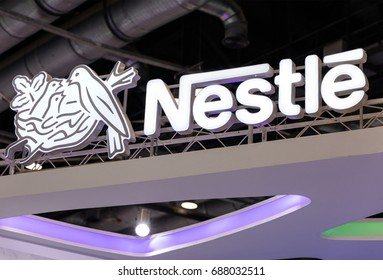 BEIJING, CHINA-JULY 16, 2017: Nestle sign; Nestle S.A. is a Swiss transnational company founded in 1866 and the largest food company in the world.