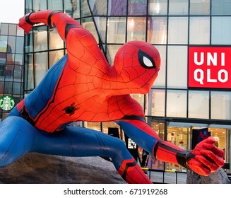 "BEIJING, CHINA-JULY 2, 2017: A Spider-Man statue is seen at the ""Spider-Man: Homecoming"" theme exhibition in Taikoo Li Sanlitun. The film ""Spider-Man: Homecoming"" will be released on July 7, 2017(USA)"