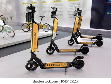 BEIJING, CHINA-JULY 8, 2017: Hangzhou InnoMake Technology products are on display durning the Beijing International Bicycle & Spare Parts Exhibition 2017