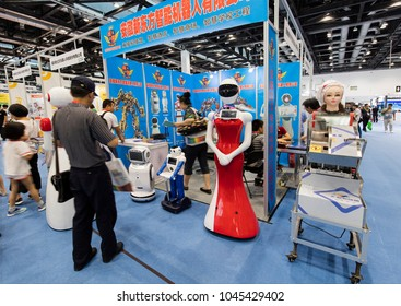 BEIJING, CHINA-JULY 8, 2017: Several kind of robots are on display during the 3E Beijing International Consumer Electronics Expo 2017.