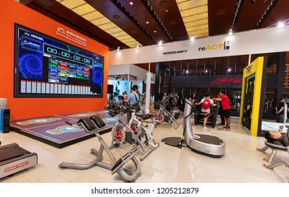 BEIJING, CHINA-JUN 28, 2017: Exhibitors display their products at the ChinaFit 2017 Convention and Trade Show.  Currently, this is regarded the largest annual event in Chinese commercial fitness.