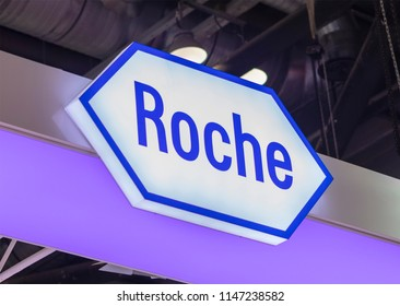 BEIJING, CHINA-MARCH 26, 2017: ROCHE sign; F. Hoffmann-La Roche AG is a Swiss multinational healthcare company founded in 1896,