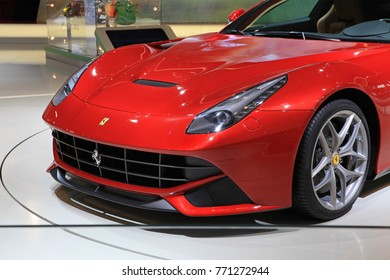 BEIJING, CHINA-MAY 2, 2012:  Ferrari F12berlinetta is on display at the 2012 Beijing International Automotive Exhibition (Auto China 2012)
