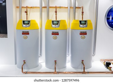 BEIJING, CHINA-MAY 20, 2017: Hot water solution is seen at the A.O. Smith booth during the China International Trade Fair for Heating, Ventilation, Air-Conditioning, Sanitation & Home Comfort Systems