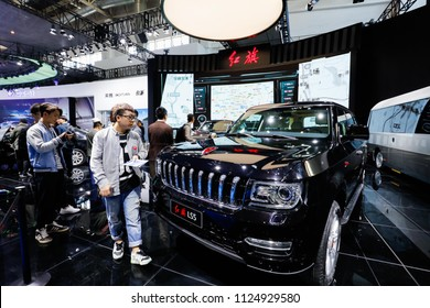 BEIJING CHINA-May 3, 2016: Beijing auto show, the Red Flag brand car. China's first domestic brand, the production of high-end business vehicles, there are red flag H5, red flag H7, red flag L5.
