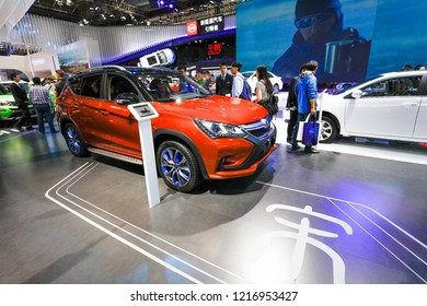"""BEIJING CHINA-May 3, 2016: Beijing Auto China, BYD's """"Dynasty"""" series of new energy vehicles Legion unveiled, the product covers passenger cars, taxis, logistics vehicles and other market segments."""